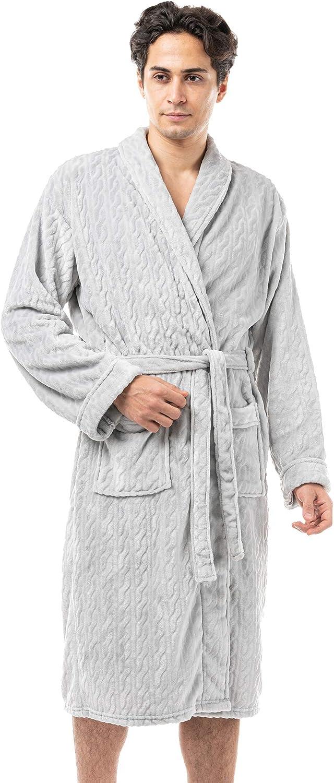 Men's Soft Warm Fleece Plush Robe with Shawl Collar, Full and Knee Length Bathrobe