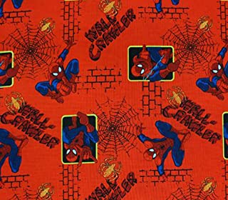 100% Cotton Fabric Quilt Prints - Spiderman Wall Crawler RED s / 45