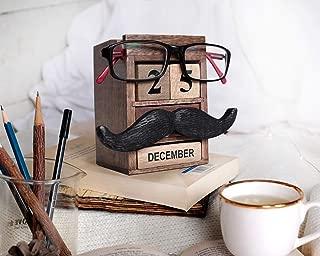 storeindya Pen Pencil Stand Holder - Spectacle Eyeglass Holder Stand Multi Organizer Calendar Wooden Display Stand Mustache Handcrafted Design