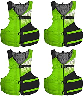 Stohlquist [4-Pack] FIT Personal Floatation Device   One Size Fits All Unisex Adult PFD Vest, High Mobility Life Jacket, G...