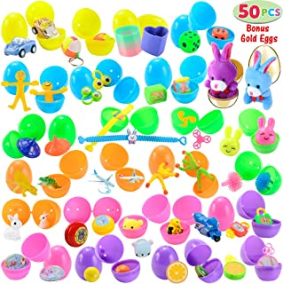 "50 Toys Filled Easter Eggs, Including 48 2.5"" Bright Colorful and 2 Gold Prefilled Plastic Easter Eggs with 25 Kinds of Popular Toys"