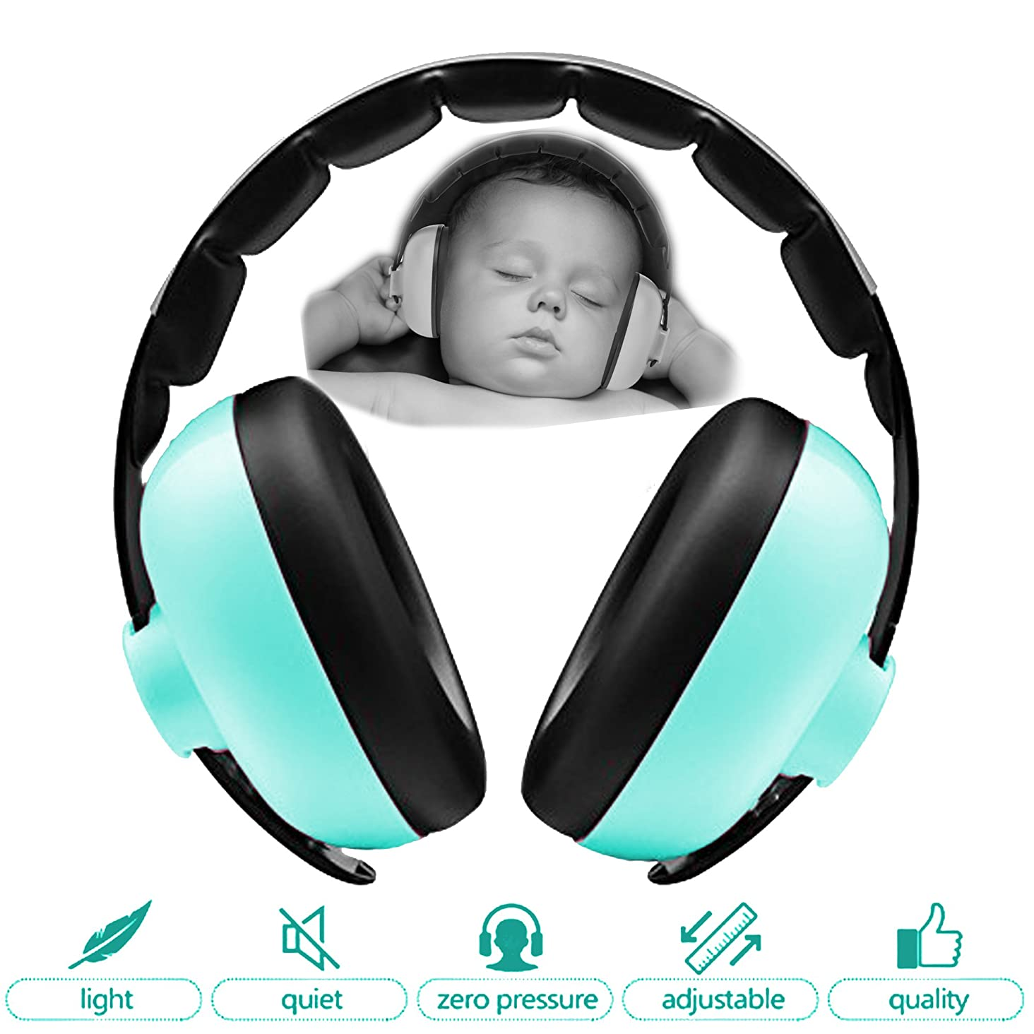 Zoom Time Baby Toddler Safety Noise Cancelling Ear Protection Headphones Travel Safe BEST Infant Ear Protection Ages 0-2+ Years Old Adjustable Design Headband Earmuffs Girls or Boys Baseball Fireworks