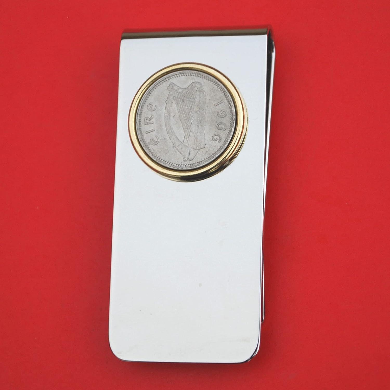 1966 Irish Sacramento Mall Ireland Ranking TOP8 3 Pence Harp Solid Money Brass Coin Clip New