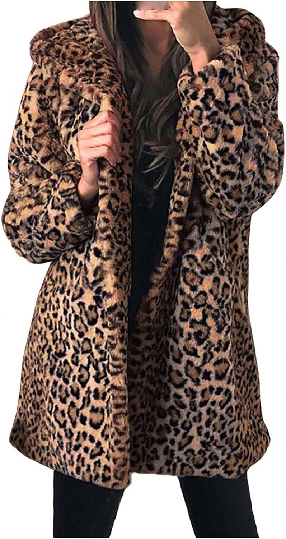 2021New Women Leopard Print Faux Fur Coats Casual Warm Winter Ca