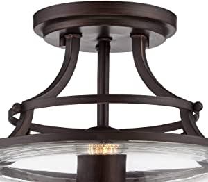 """Charleston Rustic Ceiling Light Semi Flush Mount Fixture Antique LED Bronze 13 1/2"""" Wide Glass Shade Bedroom Kitchen School House - Franklin Iron Works"""