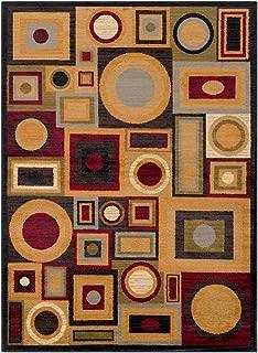 Contemporary Area Rug. Dark Red, Tan, Burnt Orange, Olive, Medium Gray, Dark Brown, KHA 6'7