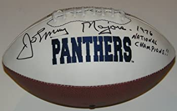 Johnny Majors Signed Autographed Auto Pittsburgh Pitt Panthers Logo Football w/1976 National Champions - Proof