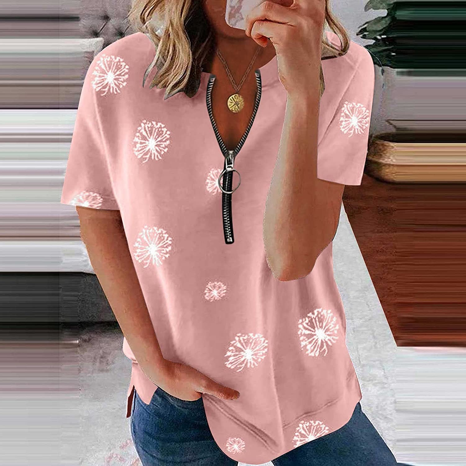 Summer T-Shirts for Women Short Sleeve Summer Tops Zipper Casual Blouses Floral Printing Comfy Pullover Shirts Tunics