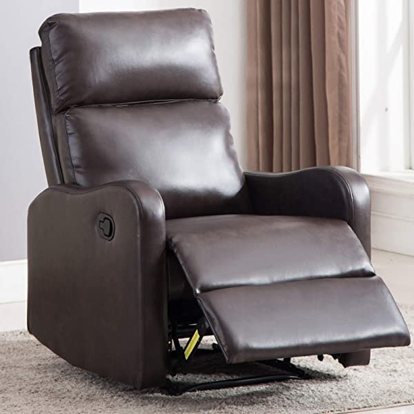 ANJ Chair Contemporary Leather Recliner Chair For Modern Living Room Classic Brown