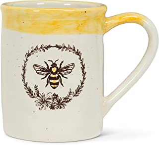 Abbott Collection 27-Crestwood Bee with Wreath Mug, Ivory