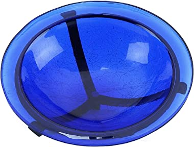 "Achla Designs GBB-01 12"" Crackle 12 inch Glass birdbath with Stake, Cobalt Blue"
