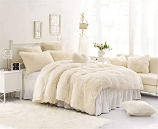 MooWoo 3PCS Luxury Plush Fluffy Bedding Sets, 1 Faux Fur Duvet Cover + 1 Fleece Flannel Bed Sheet Skirt + 1 Furry Shaggy Pillow Sham, Zipper Closure and Ties (White, Twin)