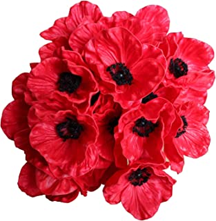 12 Stems Artificial Poppies Real Touch PU Fake Latex Flowers for Wedding Holiday Bridal Bouquet Home Party Decor (Red)