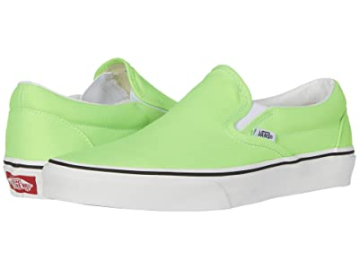 Vans Classic Slip-Ontm ((Neon) Green Gecko/True White) Skate Shoes