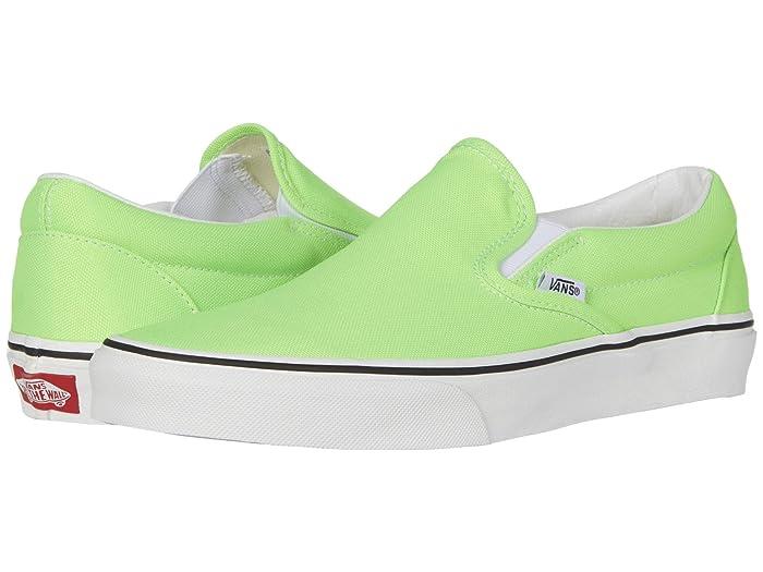 Mens Vintage Shoes, Boots | Retro Shoes & Boots Vans Classic Slip-Ontm Neon Green GeckoTrue White Skate Shoes $44.99 AT vintagedancer.com