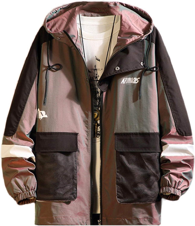 Men Streetwear Reflective Jackets Windbreaker Autumn Harajuku Patchwork Hip Hop Jackets Cargo Bomber Jackets