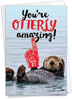 Otterly Awesome - Cute All Occasion Thank You Card with Envelope (4.63 x 6.75 Inch) - Cute River, Sea Otter Themed Gratitu...