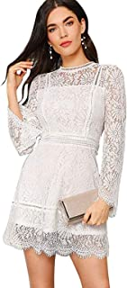 Best short white dress with sheer overlay Reviews