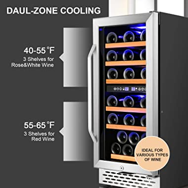 Nictemaw 15 Inch Dual Zone Wine Cooler, 32 Bottle Built-in or Freestanding Wine Refrigerator with Stainless Steel&Double-