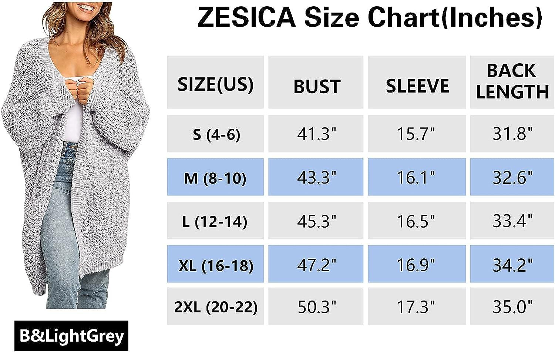 ZESICA Women's Long Batwing Sleeve Open Front Chunky Knit Cardigan Sweater