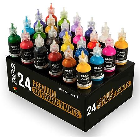 24 Botellas de Pintura 3D Textil y Tejido - Aprieta sobre los Tubos (29mL) para Extender Pintura para Ropa (Algodón) - Personaliza Camisetas, Ropa y ...