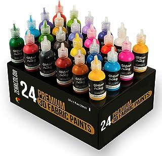 comprar comparacion 24 Botellas de Pintura 3D Textil y Tejido - Aprieta sobre los Tubos (29mL) para Extender Pintura para Ropa (Algodón) - Per...