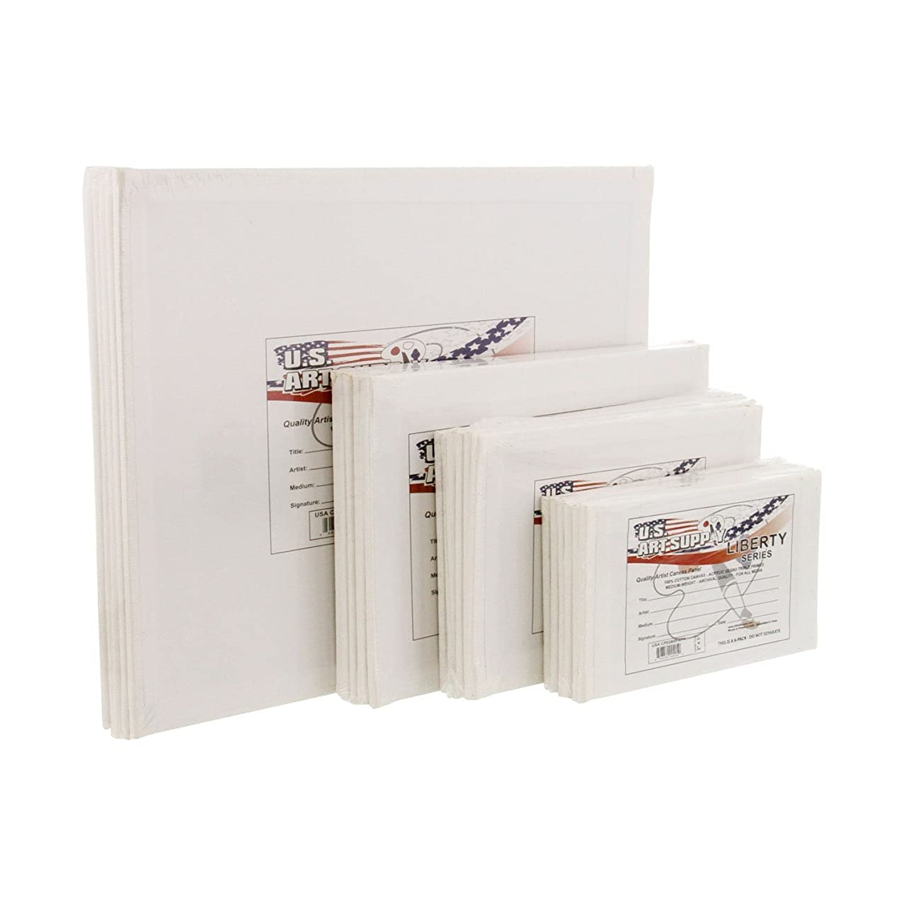 US Art Supply Multi-pack 6-Ea of 3 x 5, 4 x 6, 5 x 7, 8 x 10 inch Professional Quality Small Artist Canvas Panel Board Assortment Pack (24 Total Panel Boards)