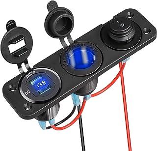 Linkstyle 4 in 1 Charger Socket Panel, QC 3.0 12V Dual USB Car Socket & LED Digital Voltmeter & Cigarette Lighter Socket S...