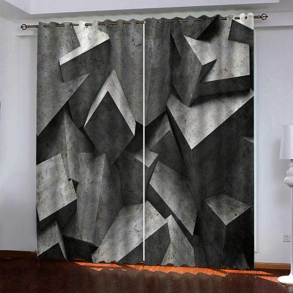 IZYLWZ Blackout Max 84% OFF Curtains for Bedroom Geometric New Orleans Mall Three-Dimensional