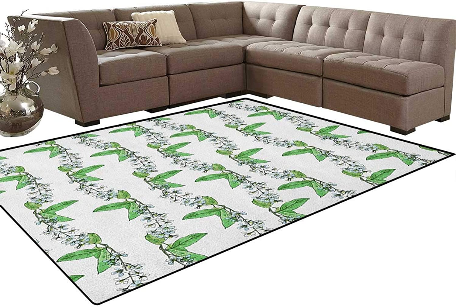 Blossoms of Romantic Spring Flowers of Bird Cherry Tree with Green Swirling Herbs Floor Mat Rug Indoor Front Door Kitchen and Living Room Bedroom Mats Rubber Non Slip