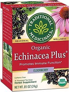 Traditional Medicinals Organic Echinacea Plus Elderberry Seasonal Tea, 16 Tea Bags(Pack of 6)