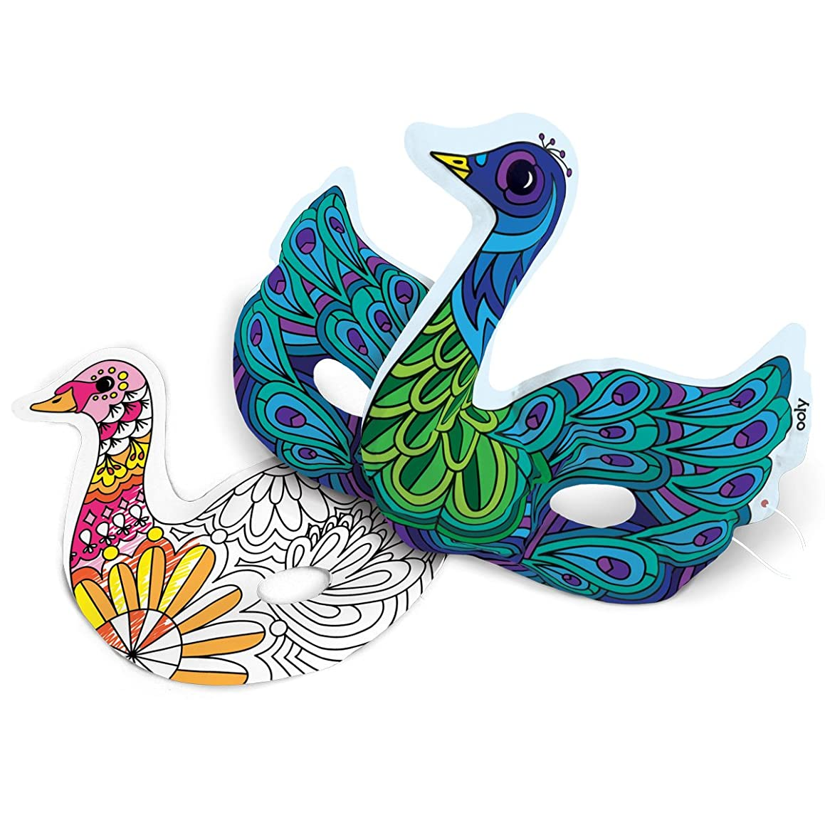 Ooly 3D Colorables Inflatable Coloring Paper Toys - DIY Beautiful Birds Masks - Set of 2 - For Ages 4+