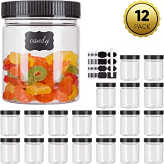 16oz Plastic Jars With Lids, Accguan Airtight Container for Food Storage, Clear Plastic Jars Ideal For Dry Food, Peanut Butter, Honey and Jam Storage, Set of 12