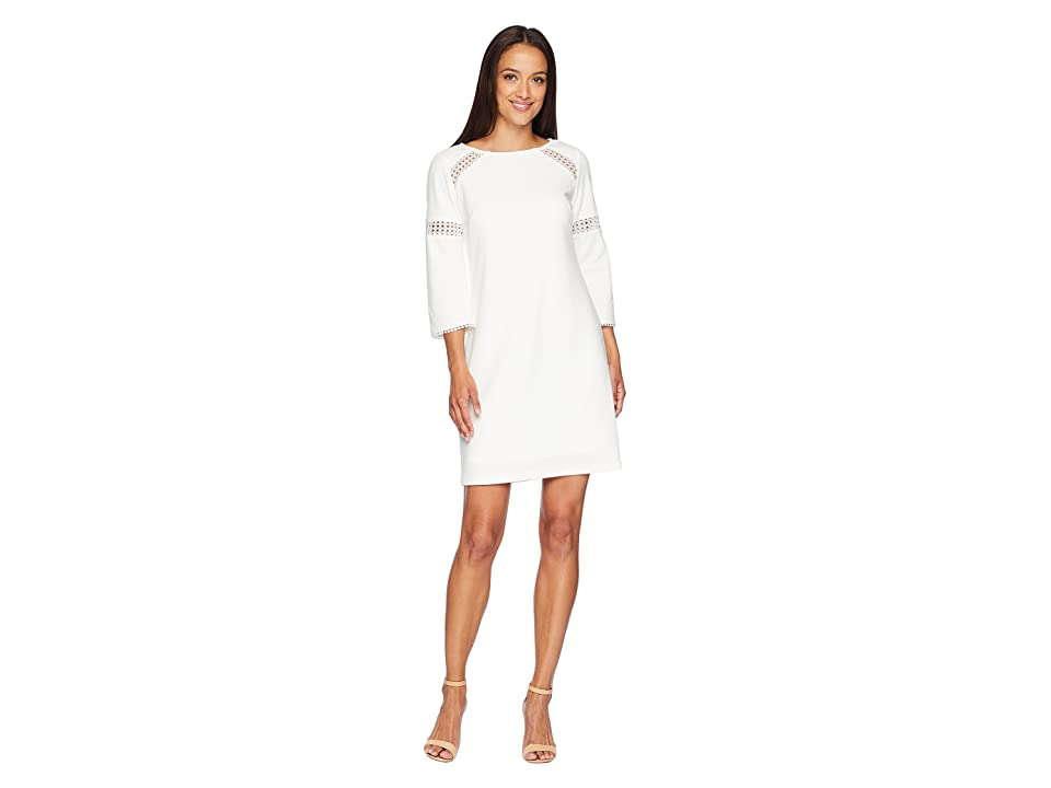 Adrianna Papell Knit Crepe Lace Trimmed Sheath Dress (Ivory) Women