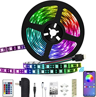 LED Strip Lights, 16.4ft Color Changing Rope Lights 5050 RGB Light Strips with APP Waterproof Tape Lights Sync with Music Apply for Home Kitchen Party Christmas Decoration