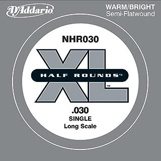 D'Addario NHR030 Half Round Bass Guitar Single String, Long Scale, .030