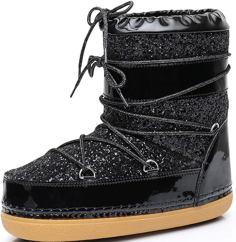 Women's Waterproof Ankle Winter Sequins Snow Boots