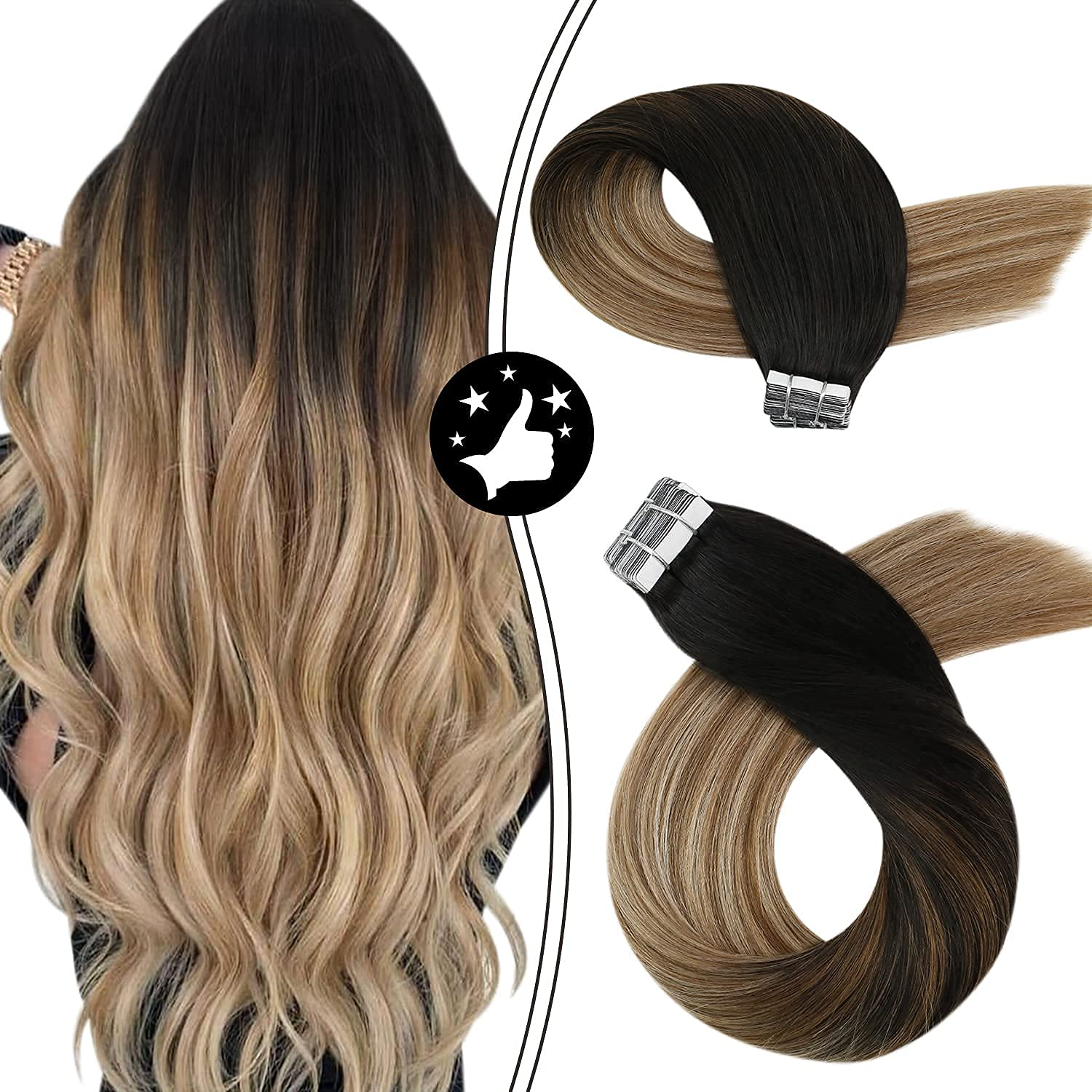 Moresoo Tape Recommendation in Hair Extensions Brand new Balayage Remy Human Ex