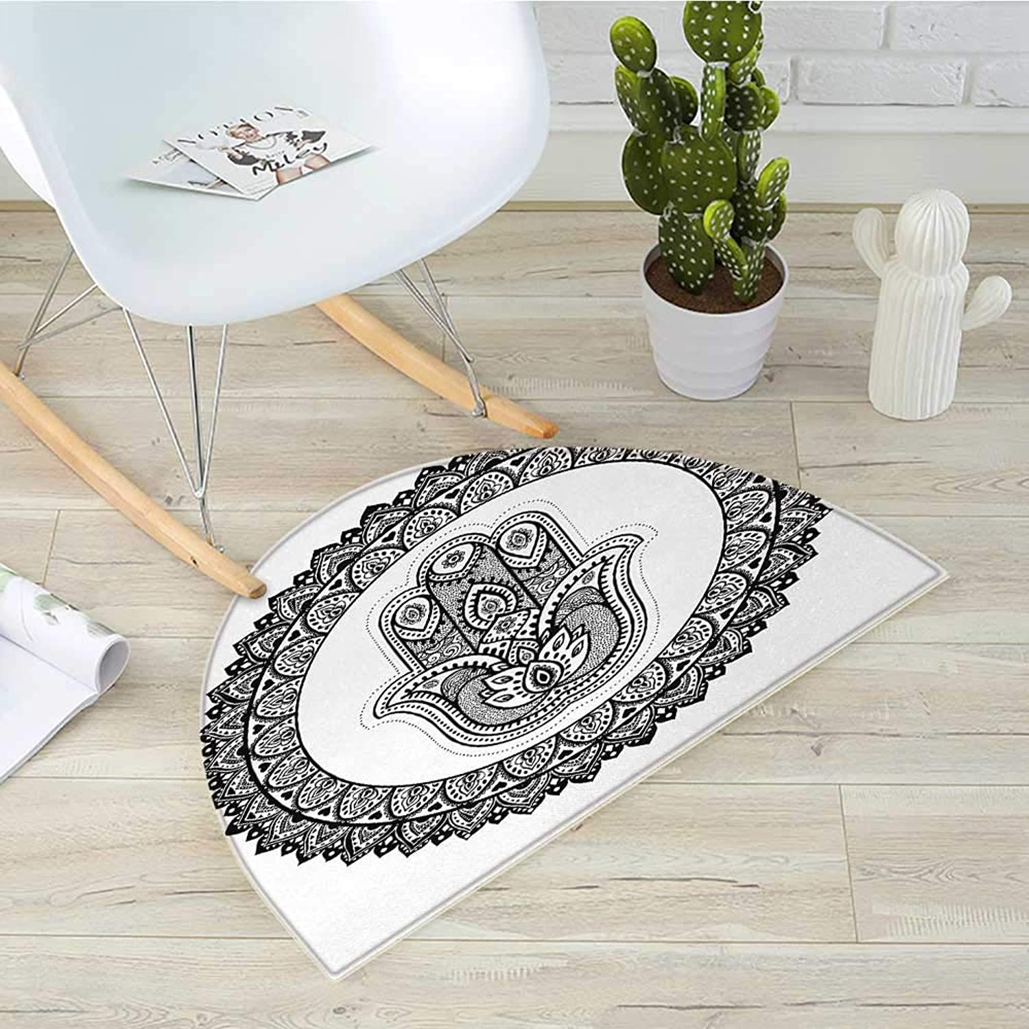 Hamsa Half Round Door mats Ring Shapes with Floral Motifs Ancient Ethnic Culture Traditional Symbol Monochrome Bathroom Mat H 39.3  xD 59  Black White