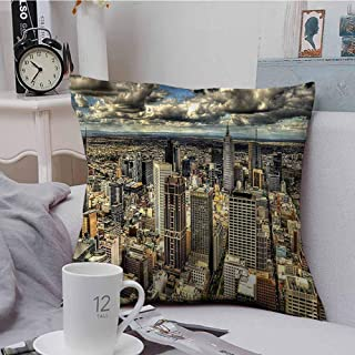 Fbdace Square Pillow Case Cover Urban Melbourne City Australia Soft, Breathable and Hypoallergenic 16 X 16 Inch