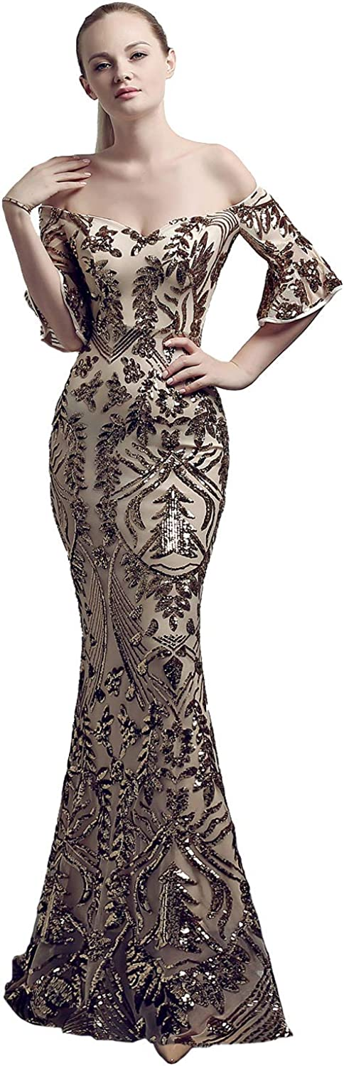 Sxfashbrd Women's Sweetheart Half Sleeves Mermaid Sequins Long Formal Evening Prom Homecoming Party Cocktail Dresses Gown