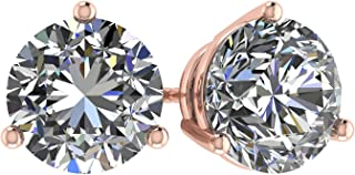 NANA 14k Gold Post & Sterling Silver-Swarovski-Zirconia 3 prong-Martini Style Stud Earrings 1.5ct to 4ct
