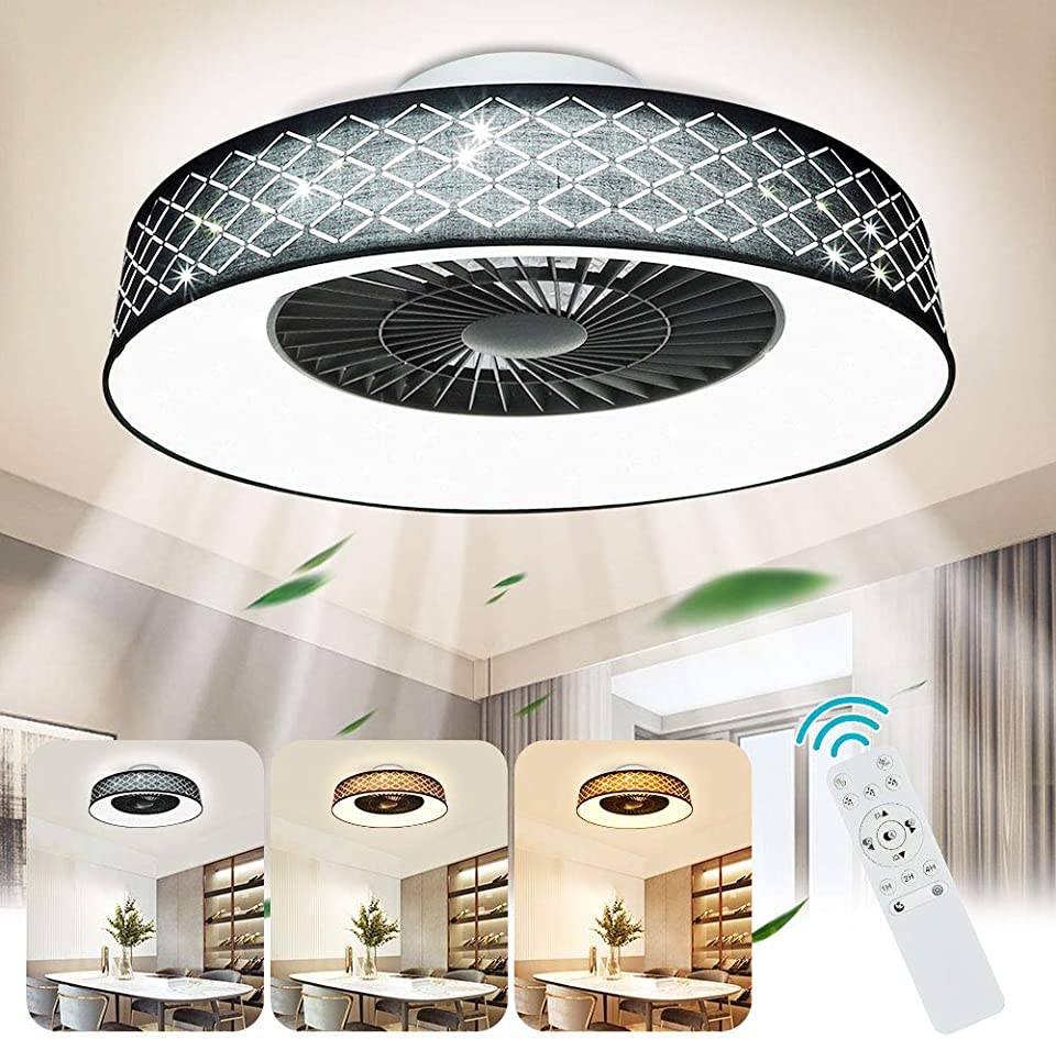 Depuley LED Deckenventilatoren mit Beleuchtung, Einstellbar Fan mit Fernbedienung und Timer, 40W Dimmbare Deckenleuchte, Unsichtbarer Ventilator mit Leuchte für Wohnzimmer, Kinderzimmer, 3000K-6500K
