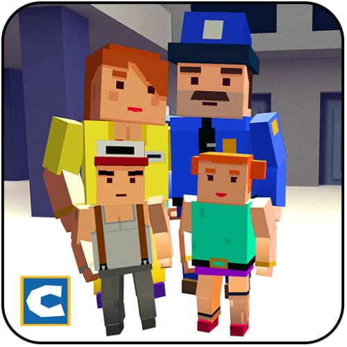 Blocky Police Dad Family: Criminals Chase Game