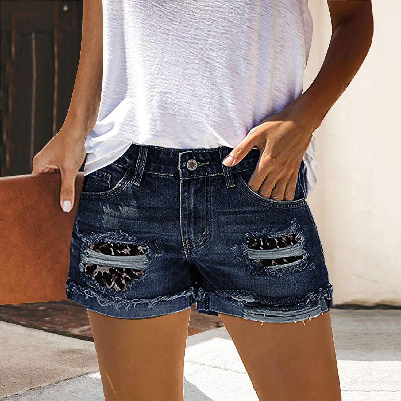 Denim Shorts for Women,High Waist Bermuda Denim Shorts for Women Distressed Knee Length Stretchy Curvy Denim Ripped Jeans Biker Shorts
