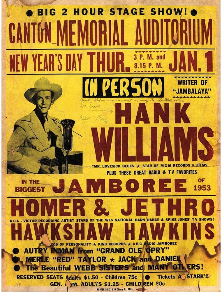 Wee Blue Coo Music Concert Advert Hank Williams Year Jamboree USA Unframed Wall Art Print Poster Home Decor Premium