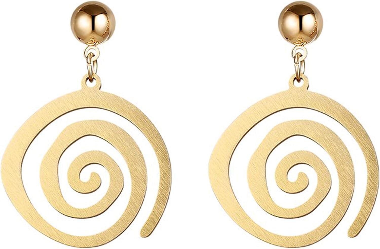 Blazing Autumn Earrings/Gold Spiral Stainless Steel Dangle Drop Earrings Fashion Jewelry