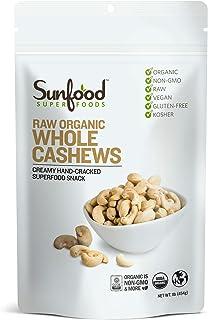 Sunfood Superfoods Cashews - Raw, Whole, Organic - Bulk Value - Rich Creamy Flavor for Snacks - 1 lb Bag