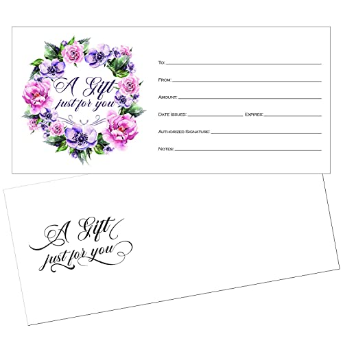 25 4x9 Cute Blank Gift Certificate Cards for Business with Envelopes, Restaurant, Spa Beauty Makeup Hair Salon, Wedding, Bridal, Baby Shower Print Custom Personalized Bulk Template Kit Forms Printable