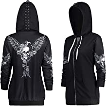 crazycatz Women Long Sleeve Steampunk Gothic Lace Up Hooded Hoodie Jacket Top Skull Wing Printed